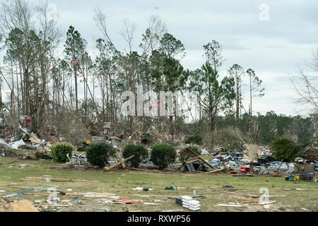 Scenes of the tornado devastated neighborhood as U.S President Donald Trump and First Lady Melania Trump visit the region and meet with residents March 8, 2019 in Lee County, Alabama. The region was hit by a tornado on March 3rd killing 23 people. - Stock Image