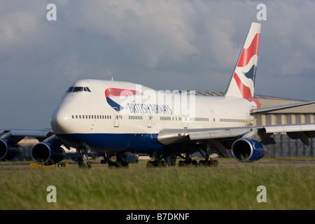 British Airways Boeing 747 at London Heathrow airport. - Stock Image