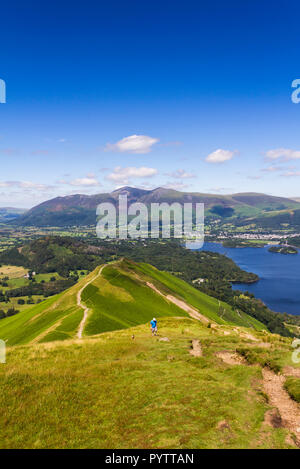 The well-worn footpath across Skelgill bank  leading to the summit of  Cat Bells (451 metres) near Keswick, Cumbria. - Stock Image