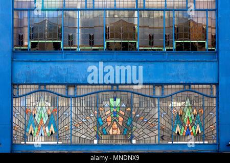 Art Deco style windows at Indie Rock & Blues Bar, Bradford, West Yorkshire - Stock Image