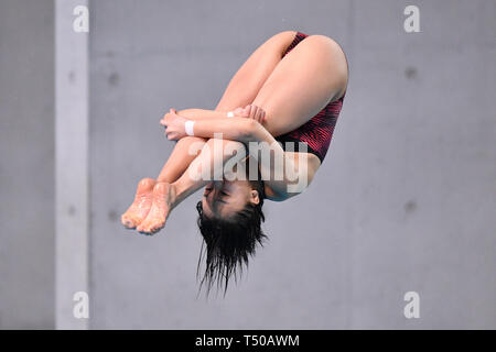 Tatsumi International Swimming Center, Tokyo, Japan. 19th Apr, 2019. Hazuki Miyamoto, APRIL 19, 2019 - Diving : Japan Indoor Diving Championship 2019 Women's 3m Springboard Final at Tatsumi International Swimming Center, Tokyo, Japan. Credit: MATSUO.K/AFLO SPORT/Alamy Live News - Stock Image