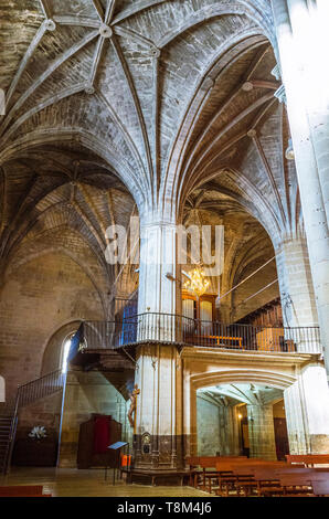 Laguardia, Álava province, Basque Country, Spain : Gothic vault of the Church of Santa María de los Reyes in the historic town of Laguardia in the Rio - Stock Image