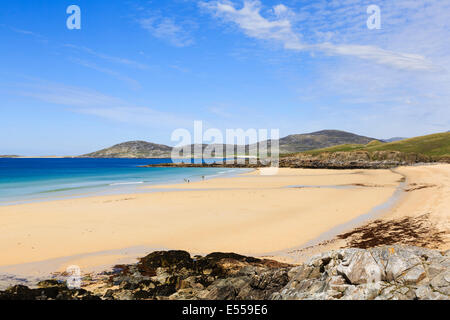 View across Traigh Lar beach to Isle of Taransay on west coast Horgabost Isle of Harris Outer Hebrides Western Isles - Stock Image