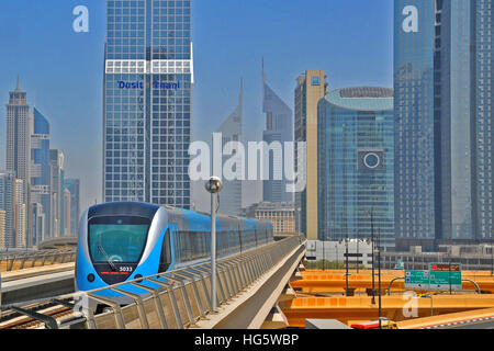 aerial Metro financial district Dubai United Arab Emirates - Stock Image
