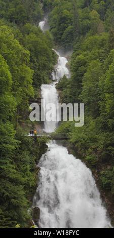 Giessbach Falls in early summer. Stunning waterfalls near Interlaken, Switzerland. - Stock Image