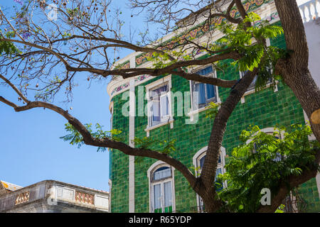 A view of the beautiful tiled architecture in the old town of Lagos in Portugal. - Stock Image