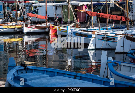 Sanary sur Mer, France,- September 2018: colourful boats in the harbour - Stock Image