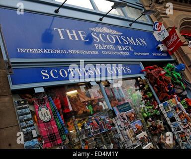 The Scotsman Paper Rack, Cockburn St Edinburgh, Scotland, Uk - Stock Image