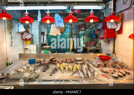 Fresh seafood on sale at a Hong Kong indoor food market - Stock Image