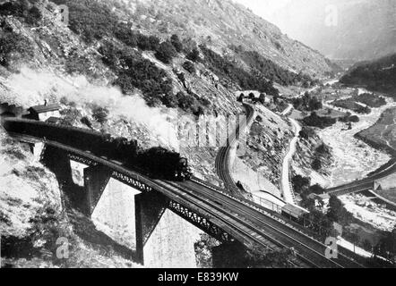 The Famous Spiral Saint Gothard railway showing three tracks circa 1920 - Stock Image