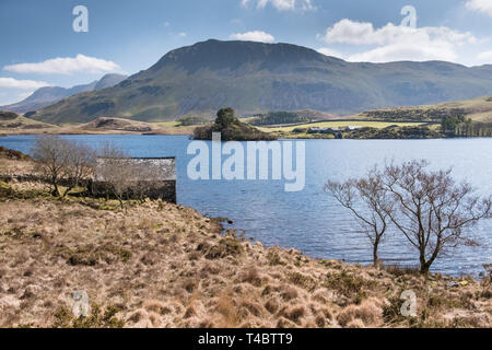 Scenic view at Cregennan Lakes, in the southern section of Snowdonia National Park, Gwynedd, Wales, UK - Stock Image