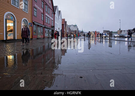 Bergen, Norway. 12th January, 2017. Norwegian weather: UNESCO World Heritage Site Bryggen, German Warf escaped a - Stock Image