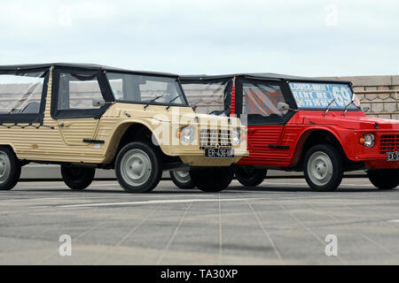 Nice, France - May 21, 2019: Two Citroen Mehari (Front View) French Vintage Cars Parked In A Parking Lot In Nice On The French Riviera - Stock Image