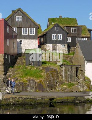 grass roof houses in Torhavn Faroe Islands - Stock Image