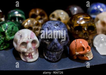 Skull carvings of semi precious stones - USA - Stock Image