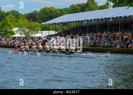 Henley-on-Thames, UK. 05th July, 2019. Henley Royal Regatta - Australian Defence Force beat Nederlandse krijgsmacht, Netherlands by 4 lengths on Friday in a heat of the King's Cup. After the Great War ended in 1918 Henley Royal Regatta were asked to run a Royal Henley Peace Regatta in 1919, with four events included specifically for servicemen of the Allied armies. Won by the Australian Army crew, the gold cup was presented to the Regatta by His Majesty King George V. Credit: Gary Blake/Alamy Live News - Stock Image