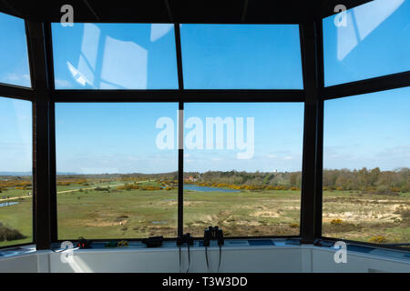View from the Control Tower at Greenham Common, formally an American airbase with nuclear weapons, near Newbury, Berkshire, UK - Stock Image