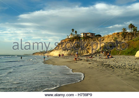 Solana Beach scene, evening time, in California, USA. - Stock Image