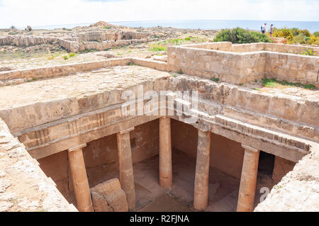 Ground-level view of carved rock tomb in The Tombs of the Kings, Tombs of the Kings Avenue, Paphos (Pafos), Pafos District, Republic of Cyprus - Stock Image