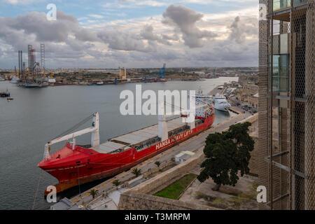 Hansa Heavy Lift, HHL Rio de Janeiro, vessel moored in Valletta Malta - Stock Image