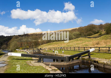 Lock 29 on the Rochdale canal in the village of Walsden near the Lancashire/Yorkshire border, looking towards Todmorden. - Stock Image