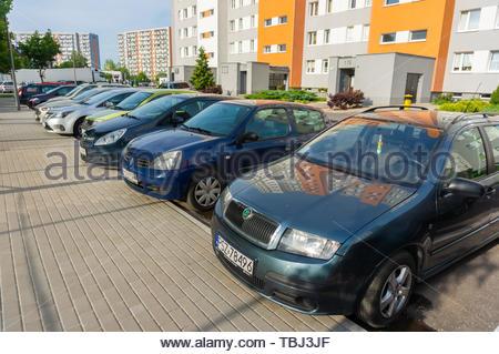 Poznan, Poland - May 24, 2019: Row of parked cars - Stock Image