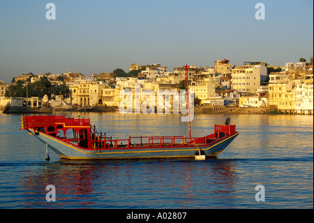 Royal Barge, Lake Pichola, used in the James Bond Film Octopussy, Udaipur, Rajasthan, India - Stock Image