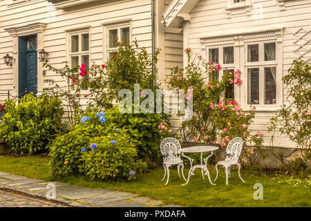 A Seat In The  Garden Old Town Stavanger Norway - Stock Image