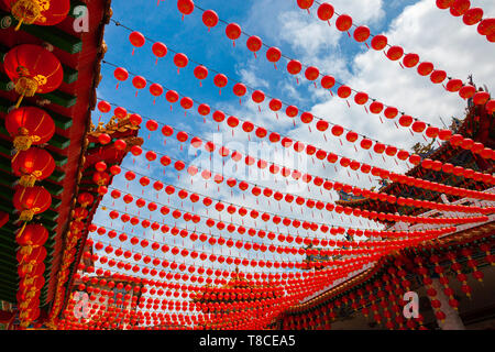 Thean Hou Temple decorated with lanterns for the Chinese New Year, Kuala Lumpur, Malaysia - Stock Image
