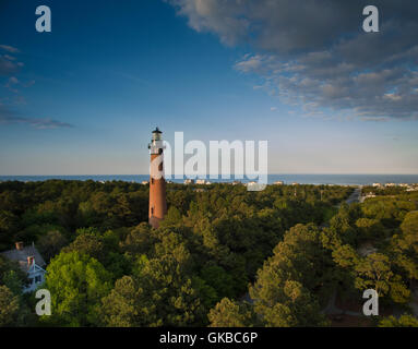 Aerial of a lighthouse in North Carolina - Stock Image