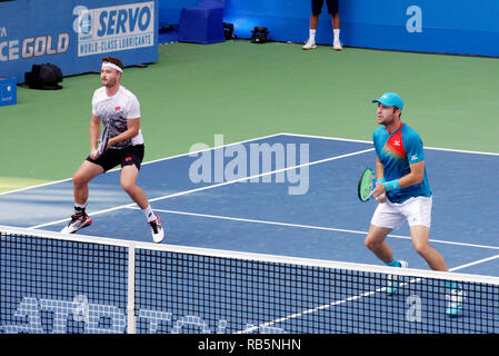 Pune, India. 5th January 2019. Jonny O'Mara and Luke Bambridge in action in the doubles finals at Tata Open Maharashtra in Pune, India. - Stock Image