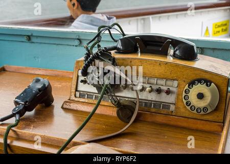 Vintage telephony equipment on the Bridge of the Royal Yacht Britannia, Port of Leith, Edinburgh, Scotland, UK - Stock Image