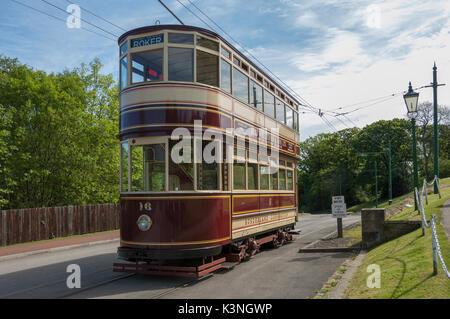 Sunderland Tram at Bemish Museum -1 - Stock Image