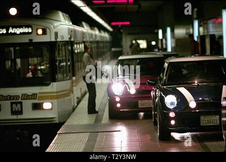 MINI CARS ON SUBWAY PLATFORM, THE ITALIAN JOB, 2003 - Stock Image