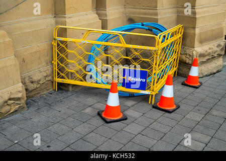 Optic fibre cable on Macquarie Street in the Hobart CBD in Tasmania in readiness for another installation in Australia's - Stock Image