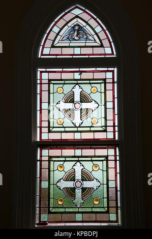 Leadlight windows in the 19th century Convent Gallery in the gold rush-era town of Daylesford, Victoria, Australia - Stock Image