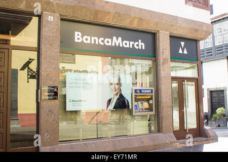 La Palma - Canary Islands - 21st January 2015: BancaMarch bank is one of the main Spainish banks in La Palma. - Stock Image
