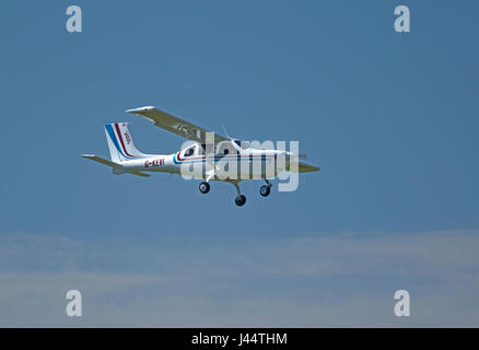 Jabiru 400 single engine kit aircraft approaching Inverness Dalcross Airport. - Stock Image