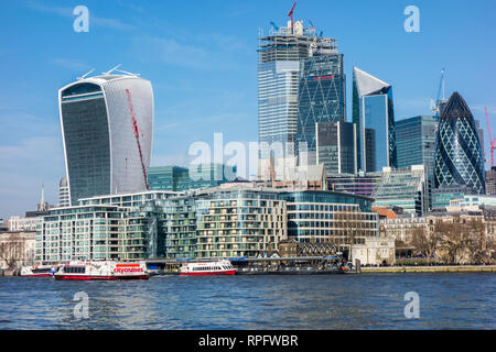 London skyline across the river Thames towards the city of London with its many modern new buildings and offices - Stock Image
