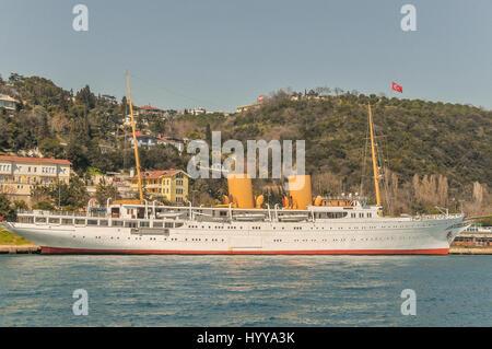 The Savarona, a historic ship that was once Mustafa Kemal Atatürk's personal yacht, moored along the Bosphorus. - Stock Image