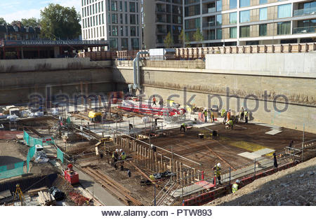 Construction foundation works for tower blocks of residential apartments. Off of Warwick Road, Kensington, London, UK. - Stock Image