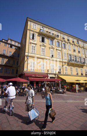 France French Reviera Nice Cours de Saleya Les Ponchettes street Cafe - Stock Image