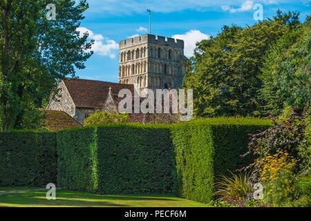 St Clements C of E Church,Sandwich,Kent,View,from,Salutation Garden - Stock Image