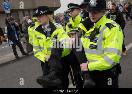 A Climate Change activist with Extinction Rebellion is arrested while campaigning for a better future for planet Earth after blocking Waterloo Bridge and as part of a multi-location 5-day Easter protest around the capital, on 16th April 2019, in London, England. - Stock Image