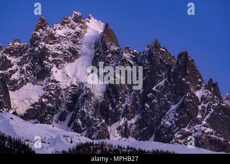 The Chamonix Needles (Aiguille du Plan and Dent du Crocodile) at twilight. Mont Blanc mountain range, Chamonix, Haute-Savoie, Alps, France - Stock Image