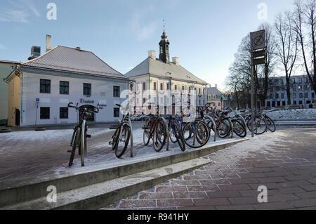 Bicycles are waiting for students on the ylikooli street. November 27, 2018 in Tartu, Estonia - Stock Image