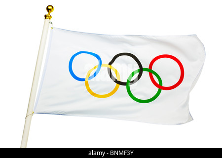 Olympic Flag Flying - Stock Image