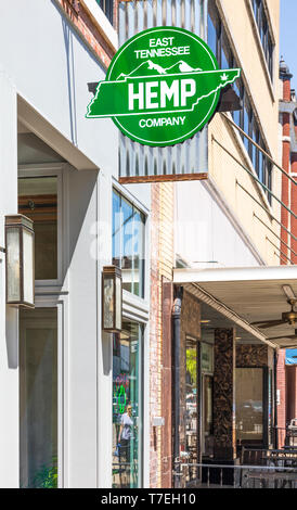 JOHNSON CITY, TN, USA-4/27/19: A sign for the the East Tennessee Hemp Company hangs in front of the store. - Stock Image
