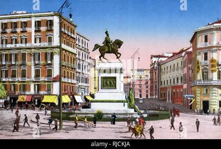 Piazza del Municipio and Via Medina with equestrian statue of Vittorio Emanuele II of Savoy, Naples, Italy. - Stock Image