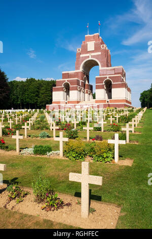 Thiepval Memorial to the Missing of the Somme in WW1 designed by Sir Edwin Lutyens - Stock Image
